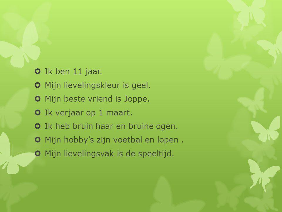  Ik ben 11 jaar.  Mijn lievelingskleur is geel.  Mijn beste vriend is Joppe.  Ik verjaar op 1 maart.  Ik heb bruin haar en bruine ogen.  Mijn ho