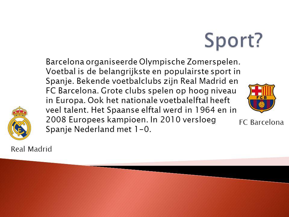 Barcelona organiseerde Olympische Zomerspelen. Voetbal is de belangrijkste en populairste sport in Spanje. Bekende voetbalclubs zijn Real Madrid en FC