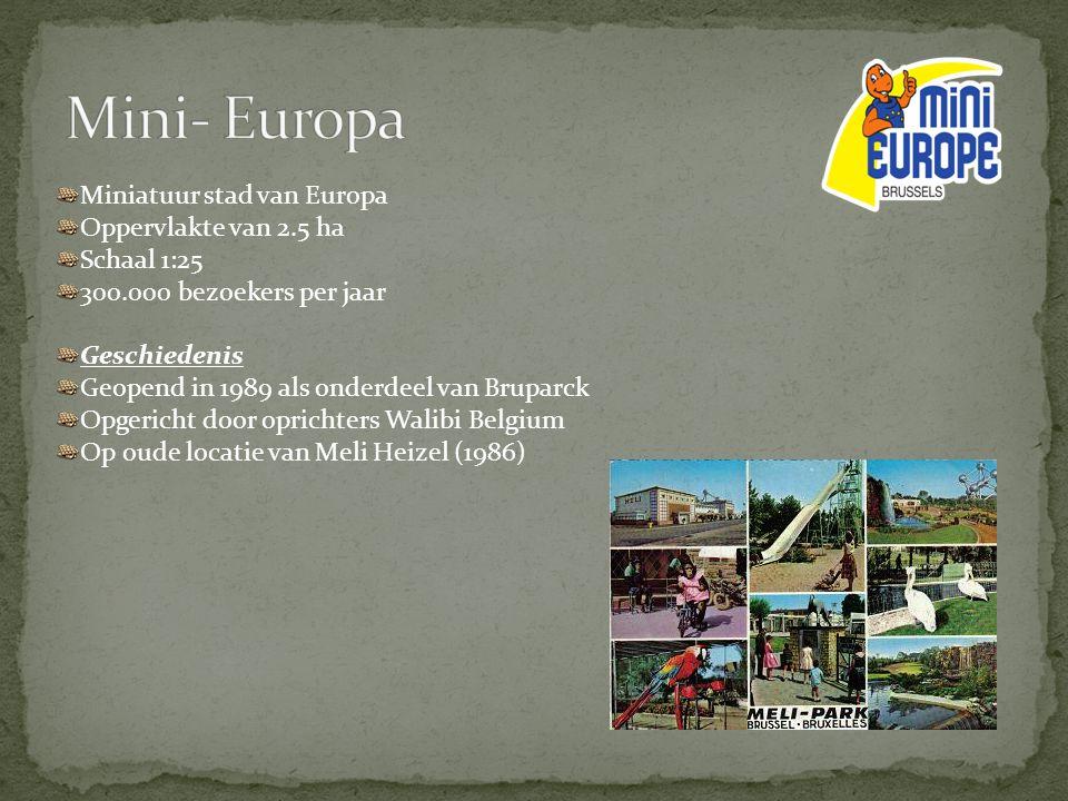 Miniatuur stad van Europa Oppervlakte van 2.5 ha Schaal 1:25 300.000 bezoekers per jaar Geschiedenis Geopend in 1989 als onderdeel van Bruparck Opgeri