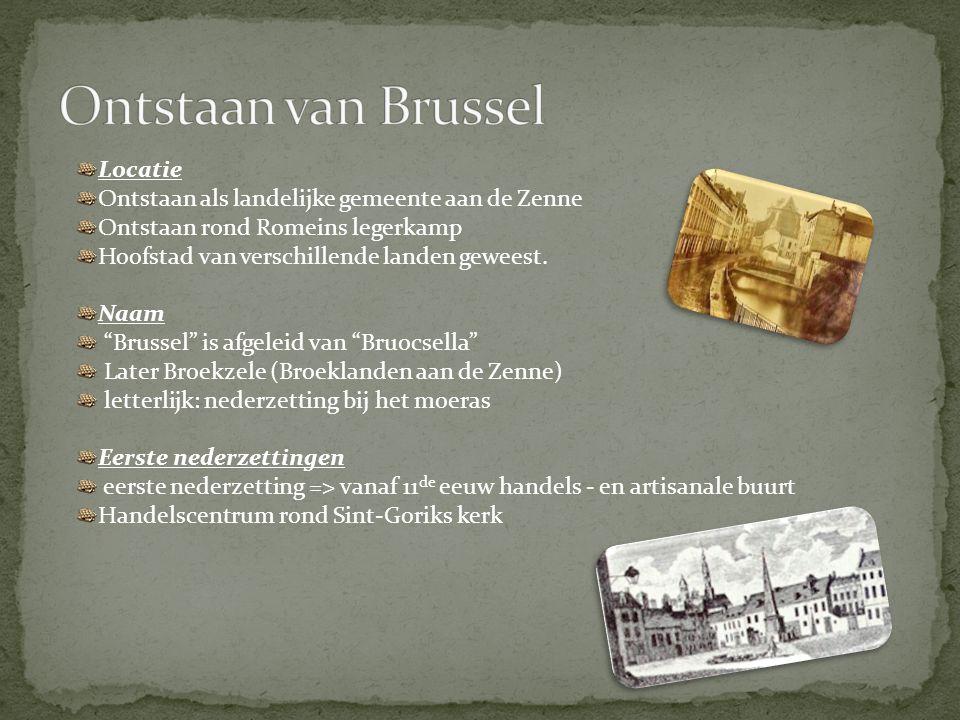 """Locatie Ontstaan als landelijke gemeente aan de Zenne Ontstaan rond Romeins legerkamp Hoofstad van verschillende landen geweest. Naam """"Brussel"""" is afg"""