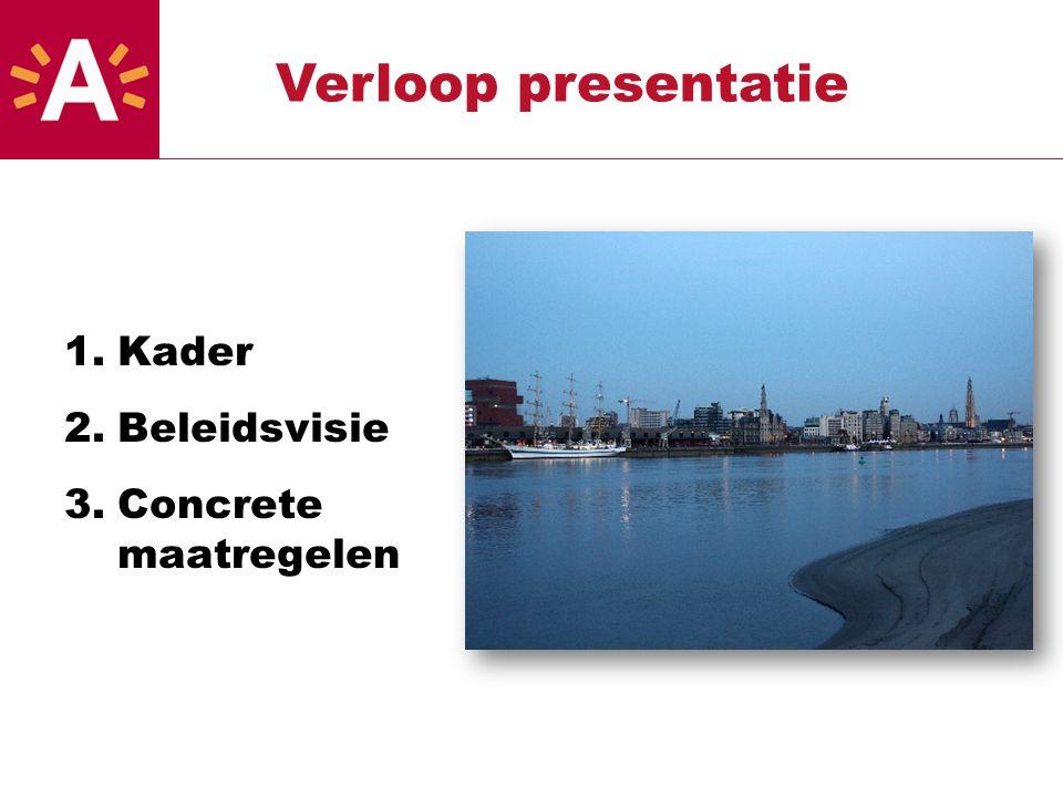 1.Kader 2.Beleidsvisie 3.Concrete maatregelen Verloop presentatie