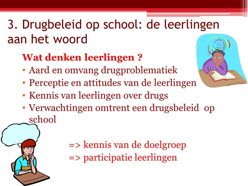 3. Drugbeleid op school: de leerlingen aan het woord Wat denken leerlingen ? Aard en omvang drugproblematiek Perceptie en attitudes van de leerlingen