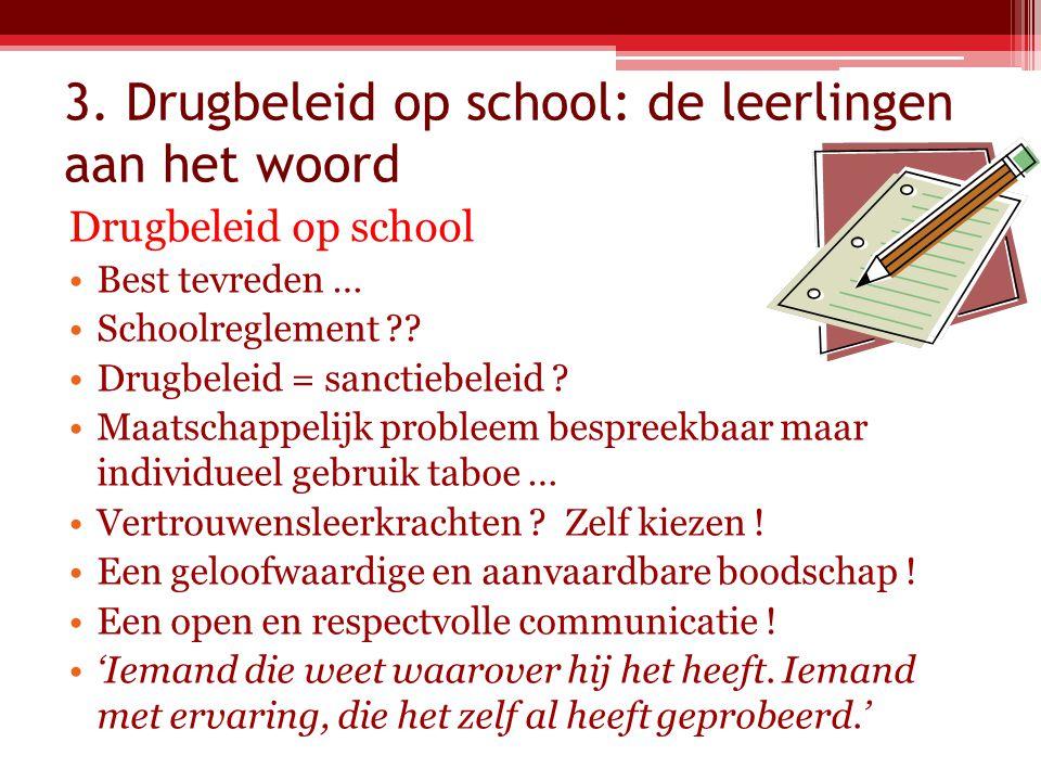 3. Drugbeleid op school: de leerlingen aan het woord Drugbeleid op school Best tevreden … Schoolreglement ?? Drugbeleid = sanctiebeleid ? Maatschappel