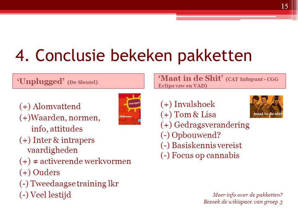 4. Conclusie bekeken pakketten 'Unplugged' (De Sleutel) 'Maat in de Shit' (CAT Infopunt - CGG Eclips vzw en VAD) (+) Alomvattend (+)Waarden, normen, i