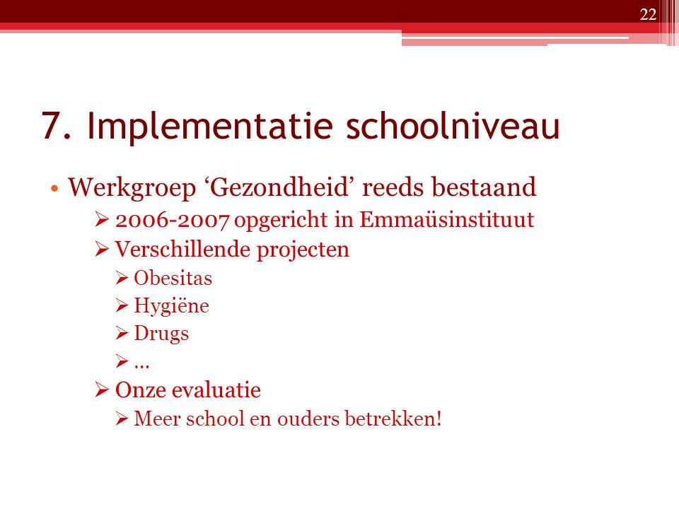 7. Implementatie schoolniveau Werkgroep 'Gezondheid' reeds bestaand  2006-2007 opgericht in Emmaüsinstituut  Verschillende projecten  Obesitas  Hy