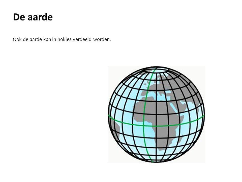 De aarde Bij die verdeling werken we met graden, met noord, zuid, oost en west.
