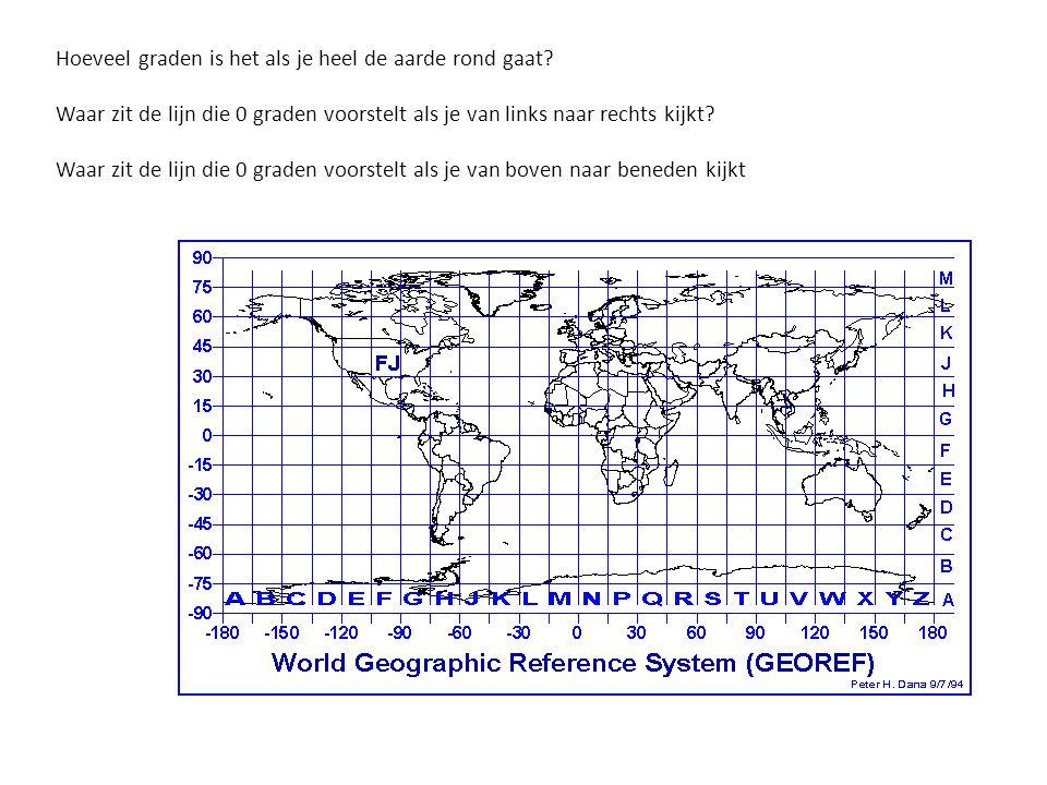 Hoeveel graden is het als je heel de aarde rond gaat? Waar zit de lijn die 0 graden voorstelt als je van links naar rechts kijkt? Waar zit de lijn die