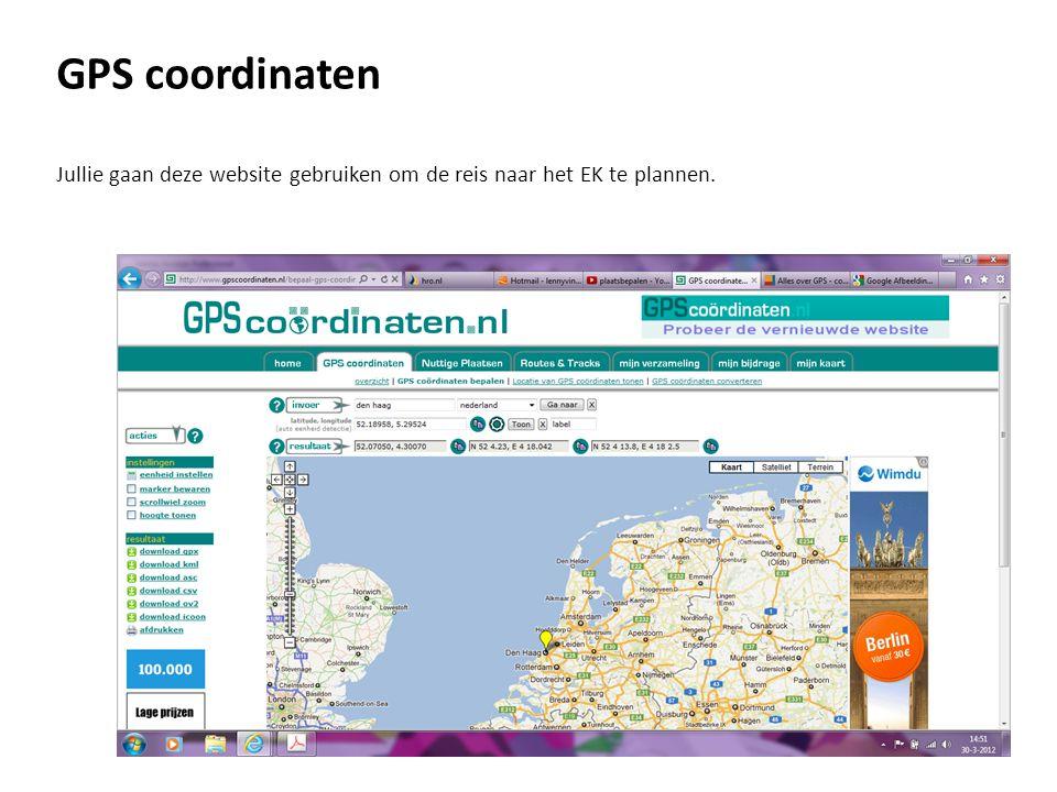 GPS coordinaten Kun je uitleggen wat de getallen betekenen die de website hieronder geeft?.