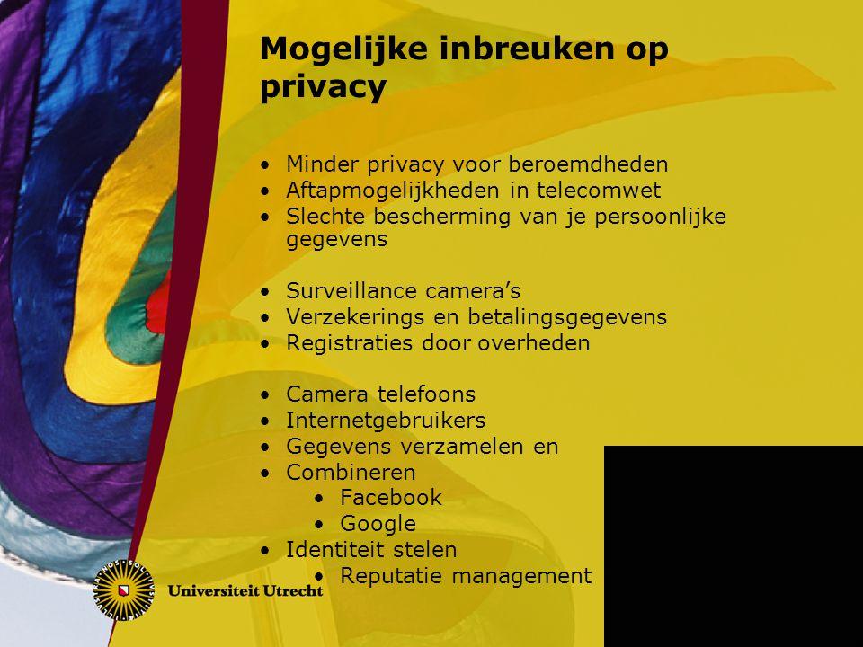 Mogelijke inbreuken op privacy Minder privacy voor beroemdheden Aftapmogelijkheden in telecomwet Slechte bescherming van je persoonlijke gegevens Surv