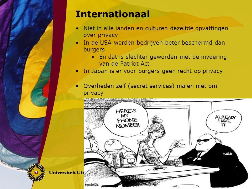 Internationaal Niet in alle landen en culturen dezelfde opvattingen over privacy In de USA worden bedrijven beter beschermd dan burgers En dat is slec