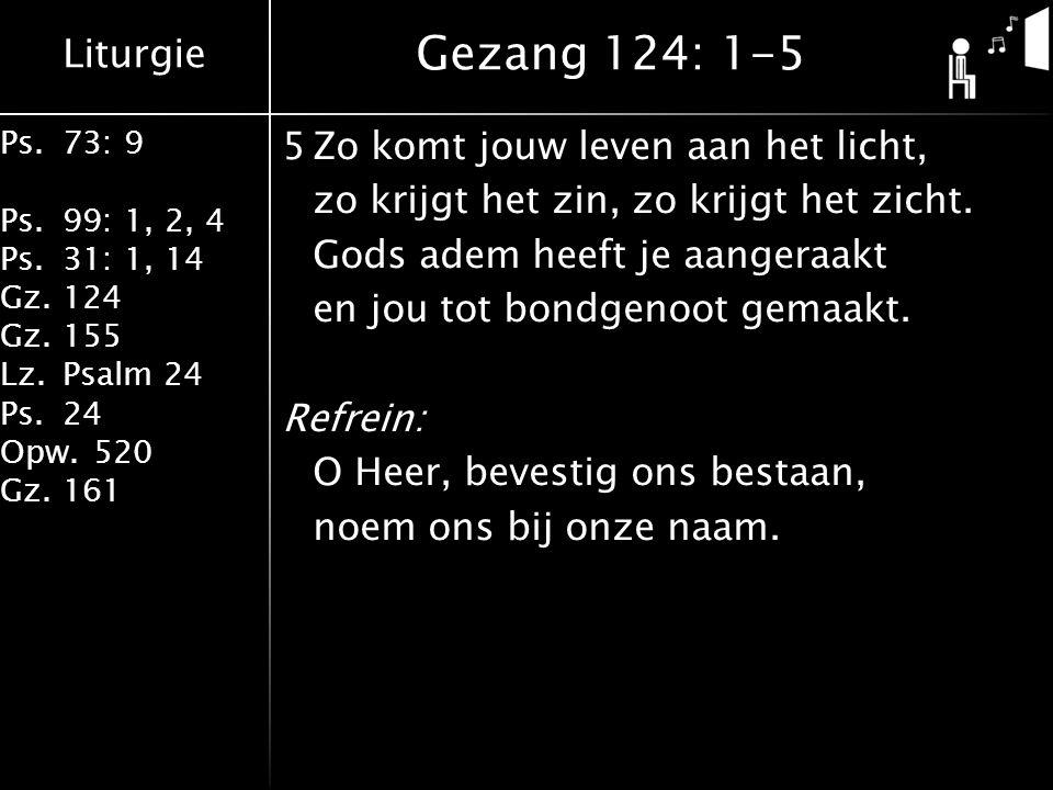 Liturgie Ps.73: 9 Ps.99: 1, 2, 4 Ps.31: 1, 14 Gz.124 Gz.155 Lz.Psalm 24 Ps.24 Opw.520 Gz.161 5Zo komt jouw leven aan het licht, zo krijgt het zin, zo krijgt het zicht.