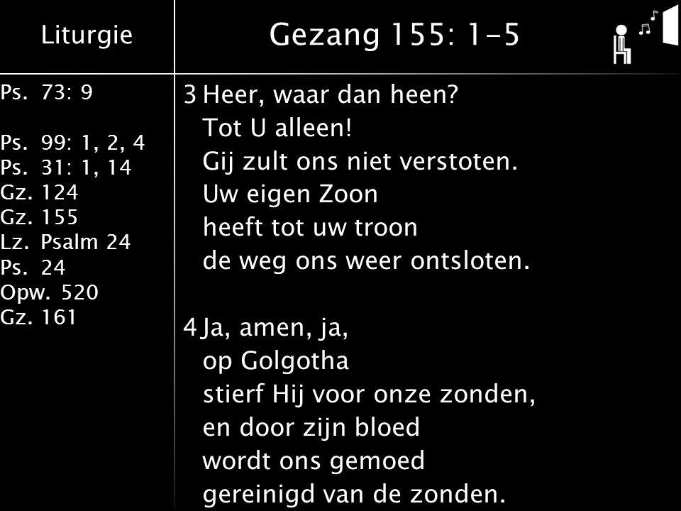 Liturgie Ps.73: 9 Ps.99: 1, 2, 4 Ps.31: 1, 14 Gz.124 Gz.155 Lz.Psalm 24 Ps.24 Opw.520 Gz.161 3Heer, waar dan heen? Tot U alleen! Gij zult ons niet ver