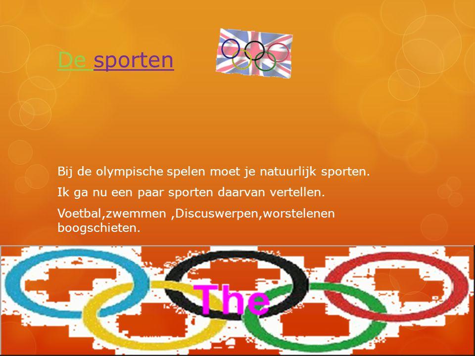 De sporten Bij de olympische spelen moet je natuurlijk sporten. Ik ga nu een paar sporten daarvan vertellen. Voetbal,zwemmen,Discuswerpen,worstelenen