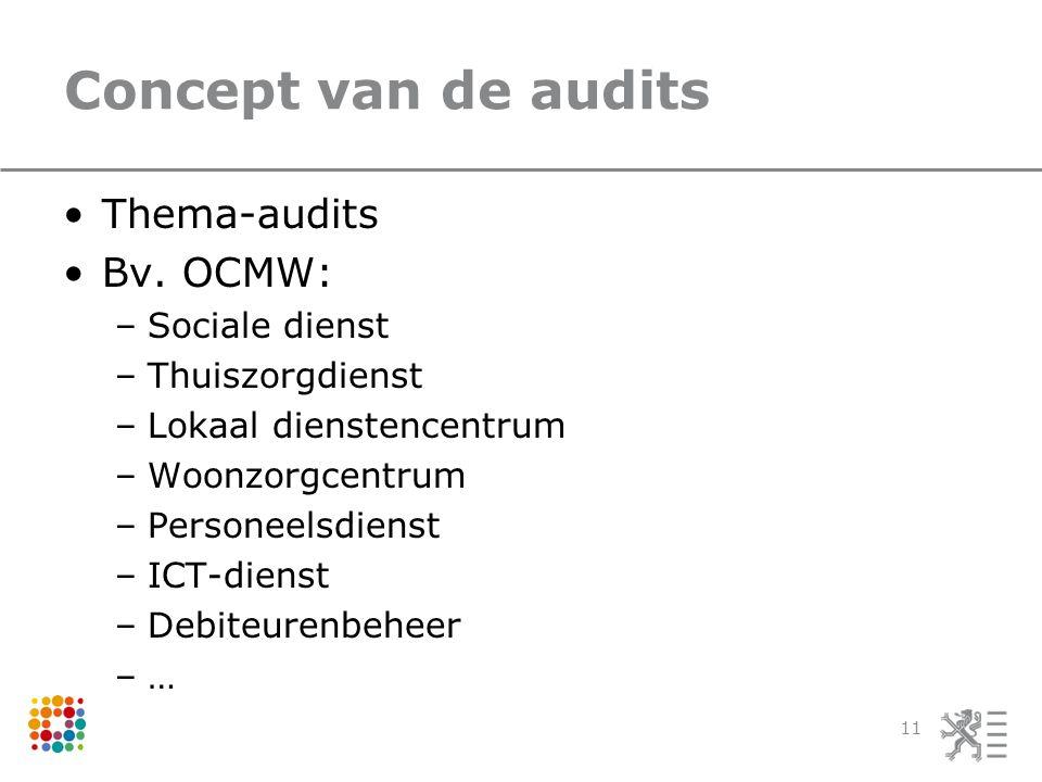Concept van de audits Thema-audits Bv.