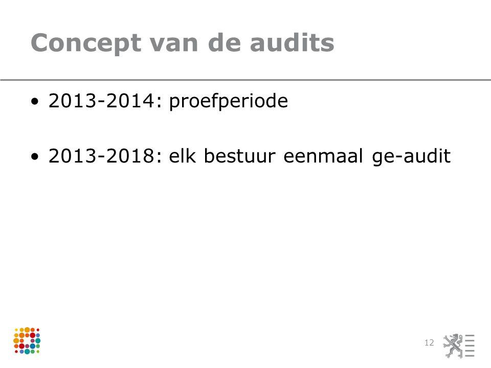 Concept van de audits 2013-2014: proefperiode 2013-2018: elk bestuur eenmaal ge-audit 12