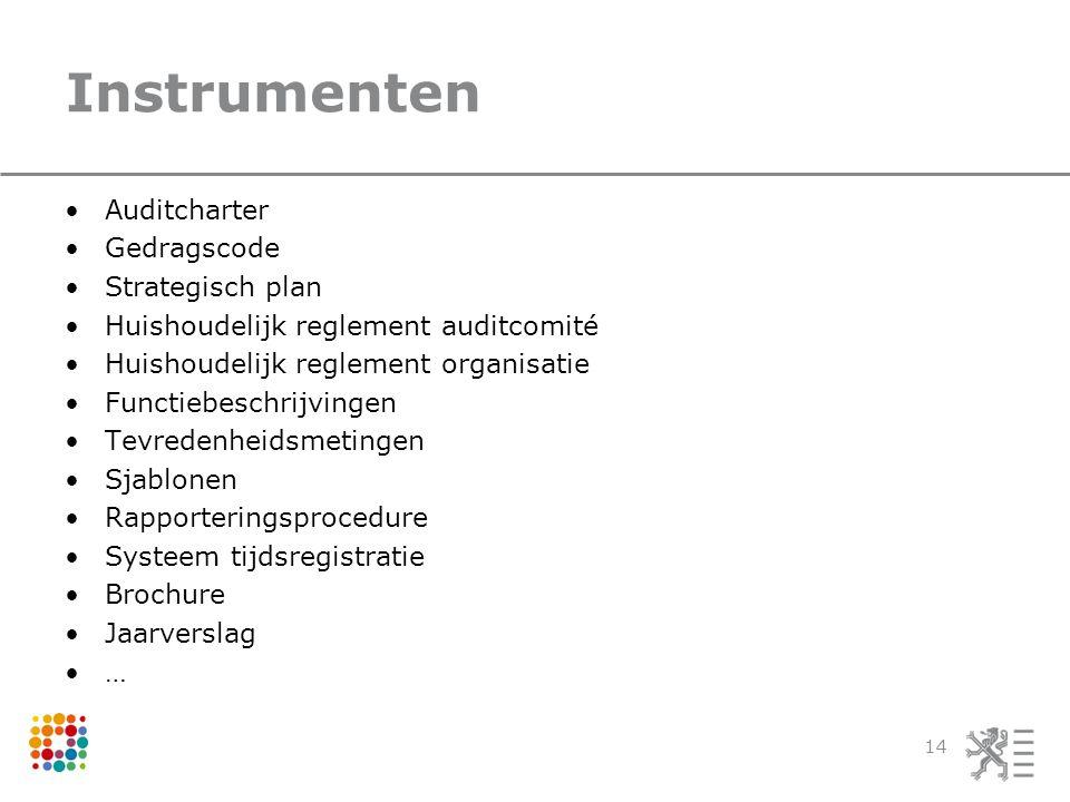 Instrumenten Auditcharter Gedragscode Strategisch plan Huishoudelijk reglement auditcomité Huishoudelijk reglement organisatie Functiebeschrijvingen Tevredenheidsmetingen Sjablonen Rapporteringsprocedure Systeem tijdsregistratie Brochure Jaarverslag … 14