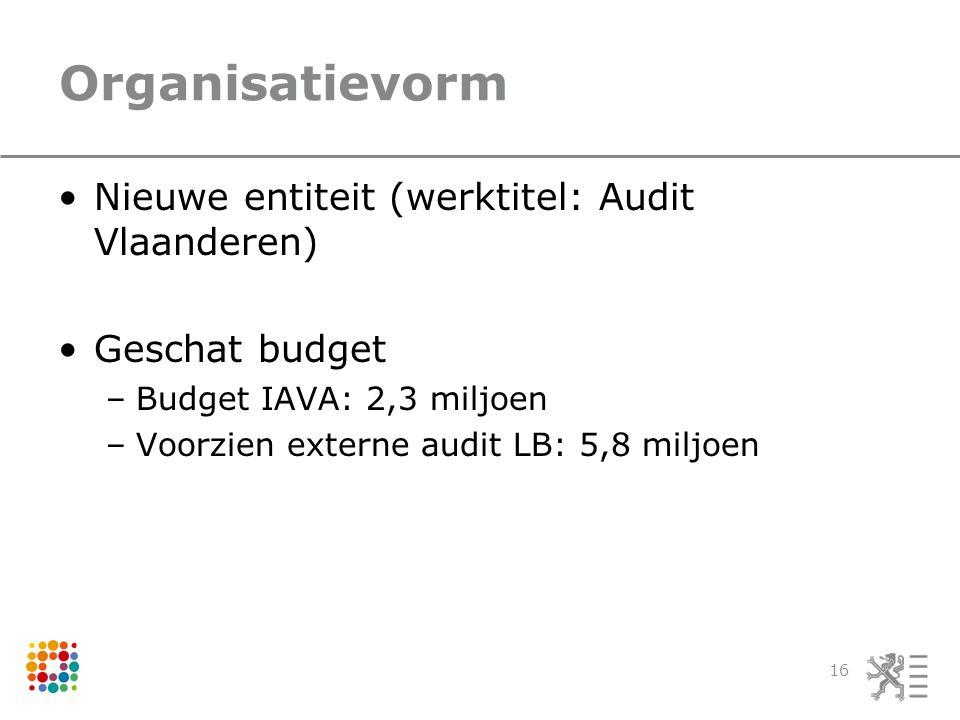 Organisatievorm Nieuwe entiteit (werktitel: Audit Vlaanderen) Geschat budget –Budget IAVA: 2,3 miljoen –Voorzien externe audit LB: 5,8 miljoen 16