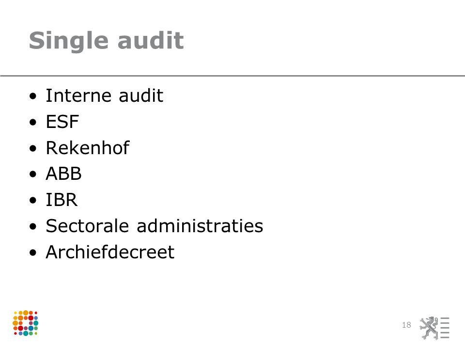 Single audit Interne audit ESF Rekenhof ABB IBR Sectorale administraties Archiefdecreet 18