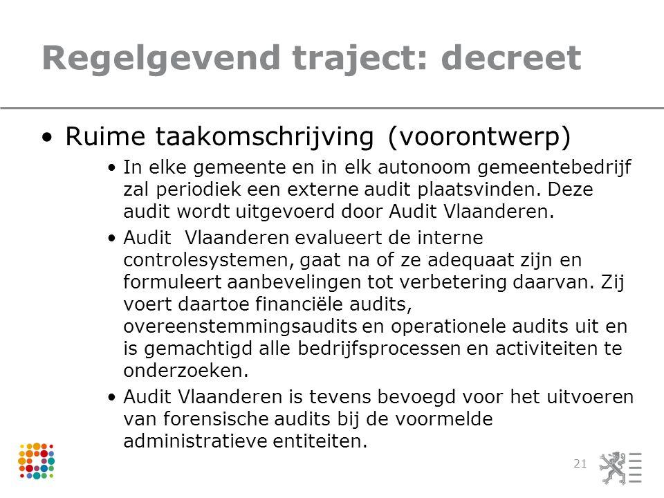 Regelgevend traject: decreet Ruime taakomschrijving (voorontwerp) In elke gemeente en in elk autonoom gemeentebedrijf zal periodiek een externe audit plaatsvinden.