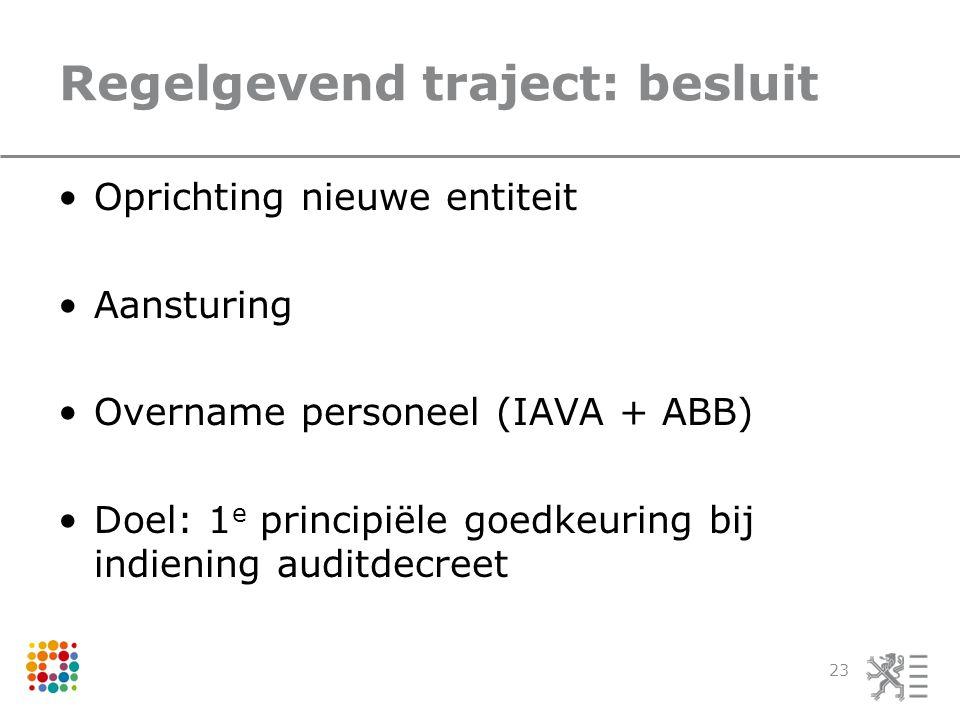 Regelgevend traject: besluit Oprichting nieuwe entiteit Aansturing Overname personeel (IAVA + ABB) Doel: 1 e principiële goedkeuring bij indiening auditdecreet 23