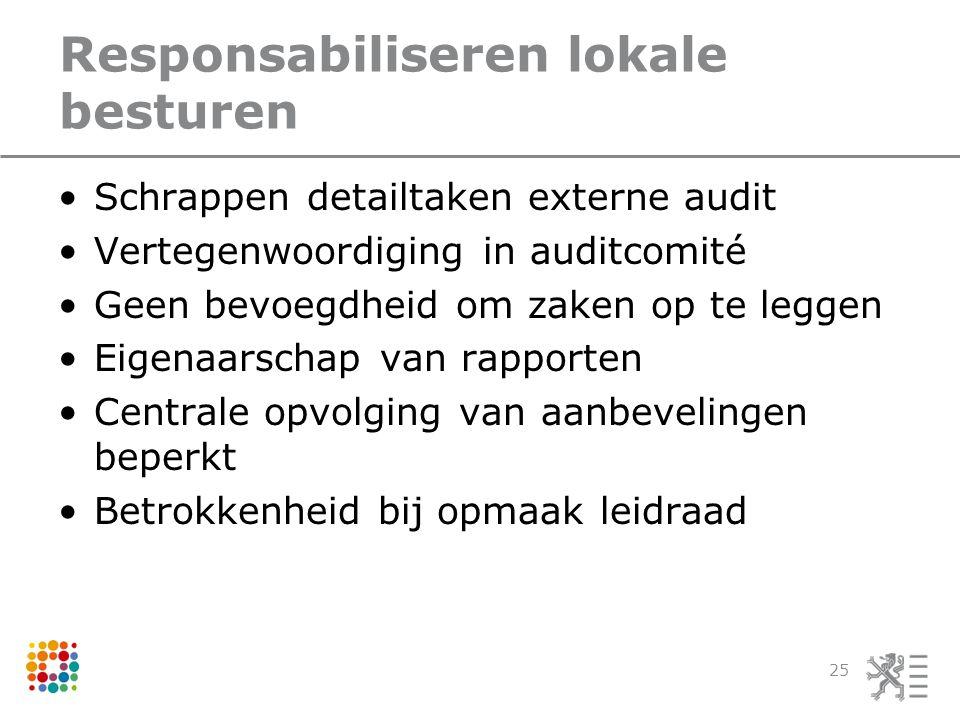 Responsabiliseren lokale besturen Schrappen detailtaken externe audit Vertegenwoordiging in auditcomité Geen bevoegdheid om zaken op te leggen Eigenaarschap van rapporten Centrale opvolging van aanbevelingen beperkt Betrokkenheid bij opmaak leidraad 25