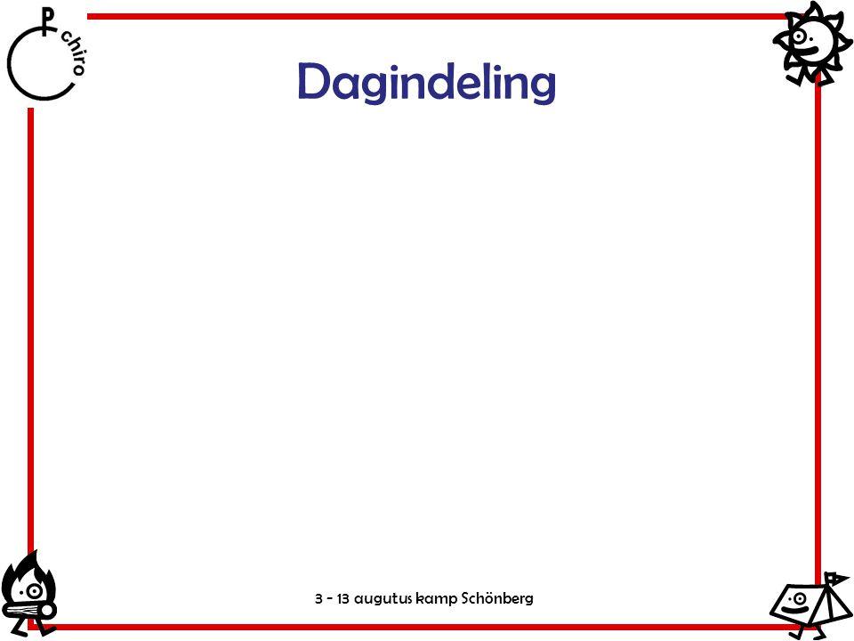 Dagindeling 3 - 13 augutus kamp Schönberg