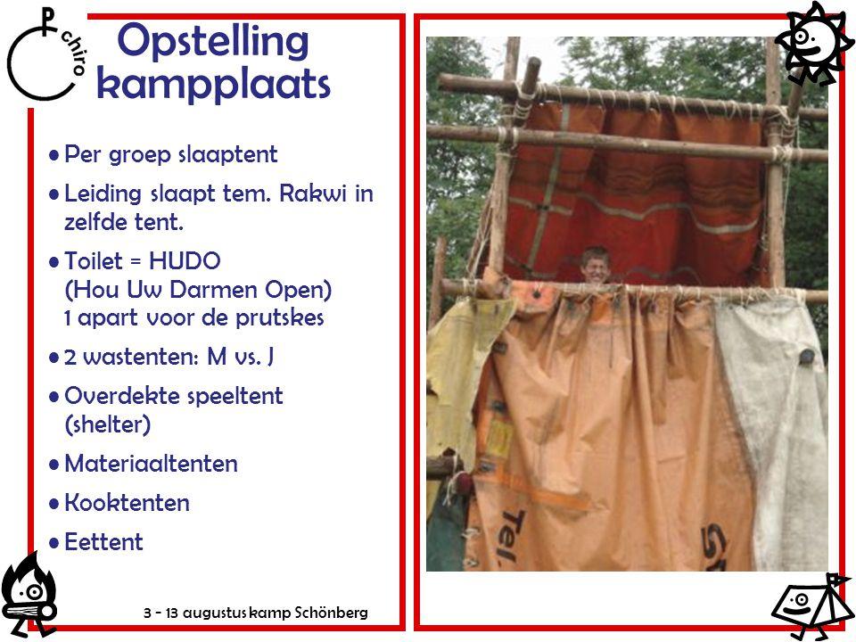 3 - 13 augustus kamp Schönberg Opstelling kampplaats Per groep slaaptent Leiding slaapt tem. Rakwi in zelfde tent. Toilet = HUDO (Hou Uw Darmen Open)