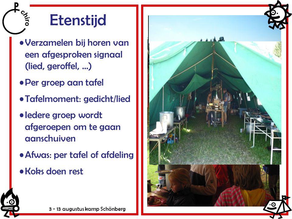 3 - 13 augustus kamp Schönberg Etenstijd Verzamelen bij horen van een afgesproken signaal (lied, geroffel, …) Per groep aan tafel Tafelmoment: gedicht