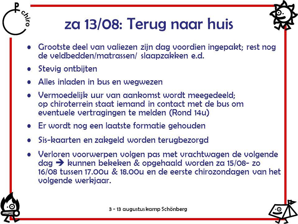 3 - 13 augustus kamp Schönberg za 13/08: Terug naar huis Grootste deel van valiezen zijn dag voordien ingepakt; rest nog de veldbedden/matrassen/ slaa
