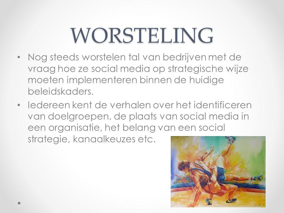 WORSTELING Nog steeds worstelen tal van bedrijven met de vraag hoe ze social media op strategische wijze moeten implementeren binnen de huidige beleid