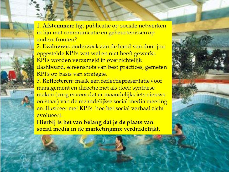 1. Afstemmen: ligt publicatie op sociale netwerken in lijn met communicatie en gebeurtenissen op andere fronten? 2. Evalueren: onderzoek aan de hand v