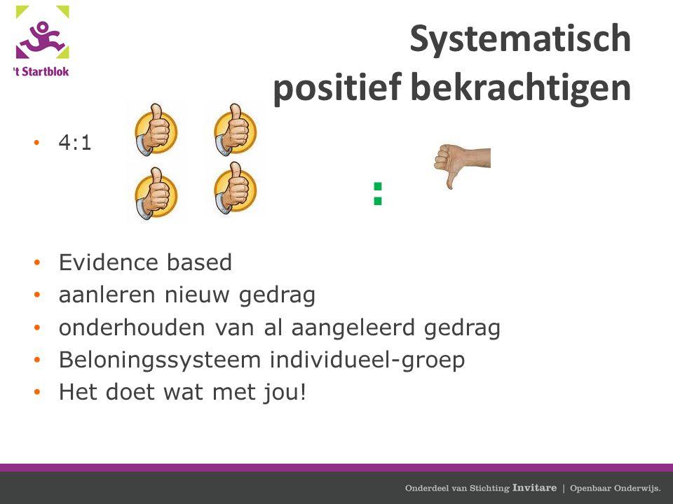Systematisch positief bekrachtigen 4:1 : Evidence based aanleren nieuw gedrag onderhouden van al aangeleerd gedrag Beloningssysteem individueel-groep