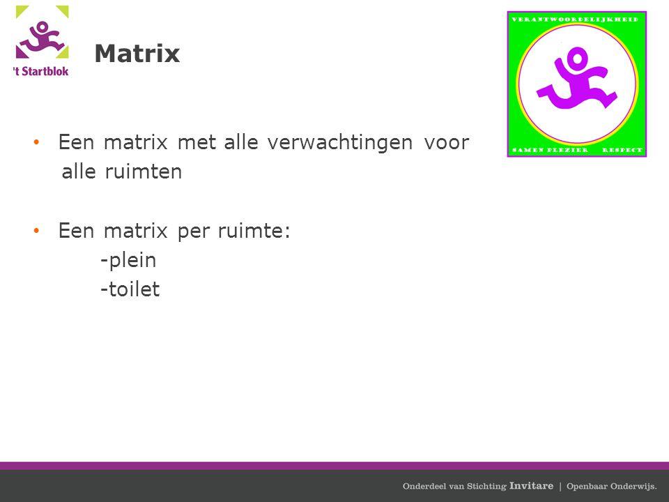 Matrix Een matrix met alle verwachtingen voor alle ruimten Een matrix per ruimte: -plein -toilet