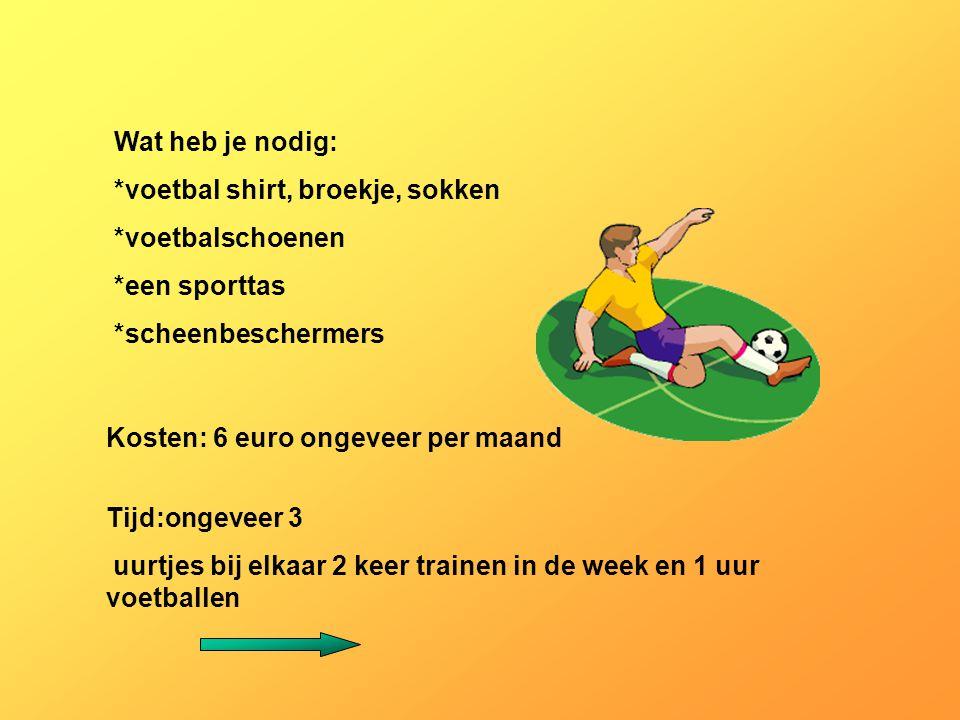 Wat heb je nodig: *voetbal shirt, broekje, sokken *voetbalschoenen *een sporttas *scheenbeschermers Kosten: 6 euro ongeveer per maand Tijd:ongeveer 3