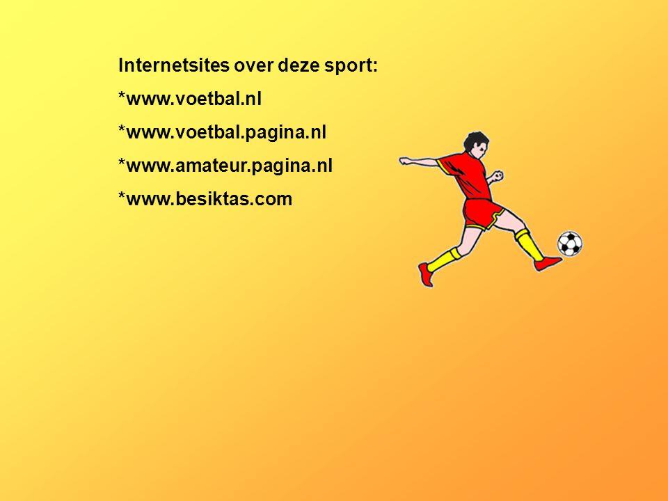 Internetsites over deze sport: *www.voetbal.nl *www.voetbal.pagina.nl *www.amateur.pagina.nl *www.besiktas.com Kijk naar de antwoorden van vraag 11 Vo