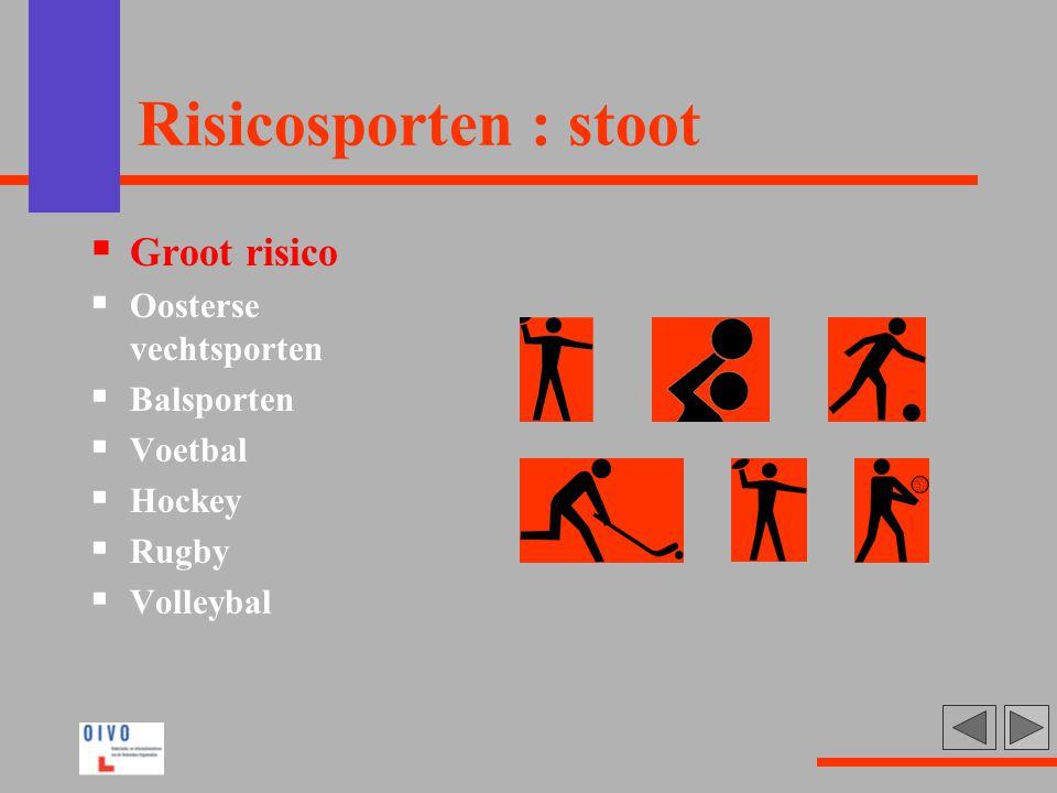 Risicosporten : stoot  Groot risico  Oosterse vechtsporten  Balsporten  Voetbal  Hockey  Rugby  Volleybal