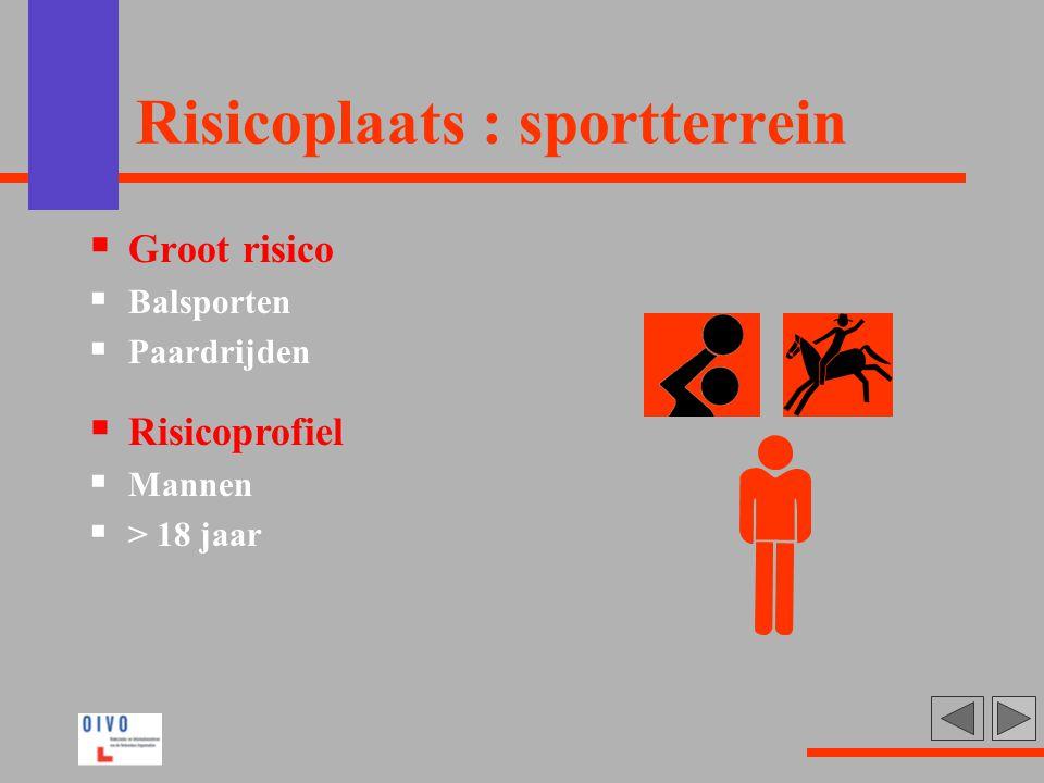 Risicoplaats : sportterrein  Groot risico  Balsporten  Paardrijden  Risicoprofiel  Mannen  > 18 jaar