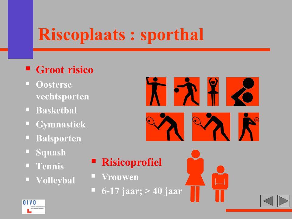 Riscoplaats : sporthal  Groot risico  Oosterse vechtsporten  Basketbal  Gymnastiek  Balsporten  Squash  Tennis  Volleybal  Risicoprofiel  Vr