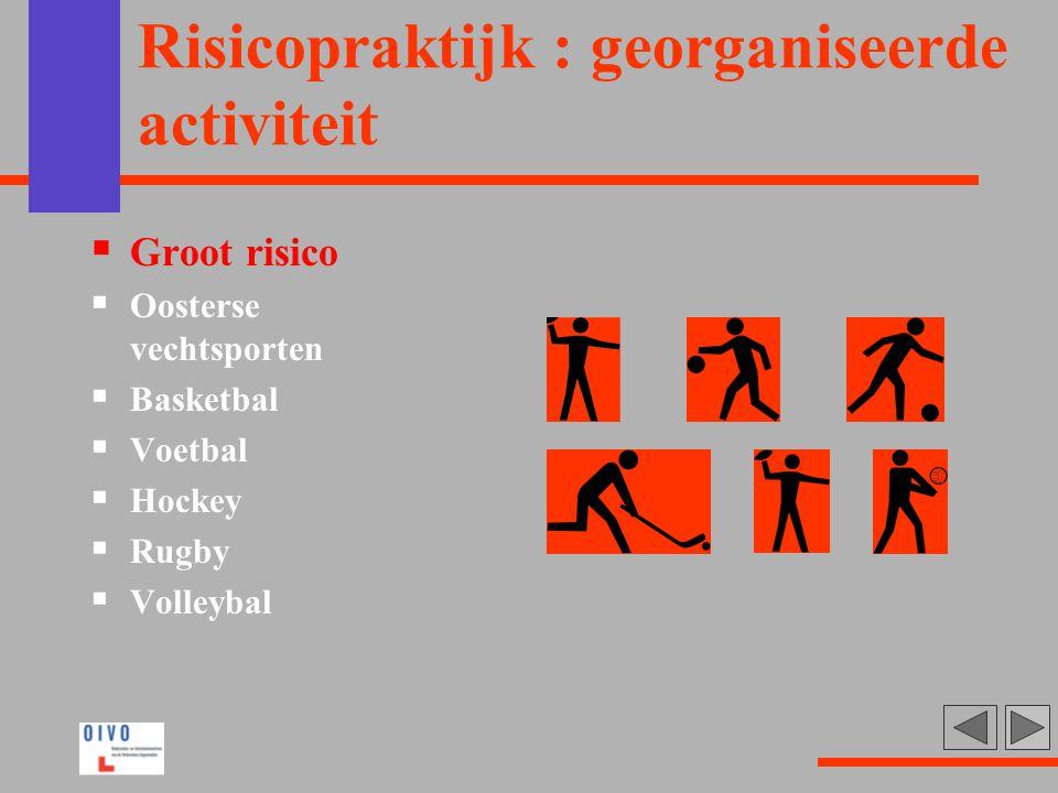 Risicopraktijk : georganiseerde activiteit  Groot risico  Oosterse vechtsporten  Basketbal  Voetbal  Hockey  Rugby  Volleybal