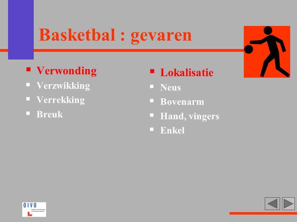 Basketbal : gevaren  Verwonding  Verzwikking  Verrekking  Breuk  Lokalisatie  Neus  Bovenarm  Hand, vingers  Enkel
