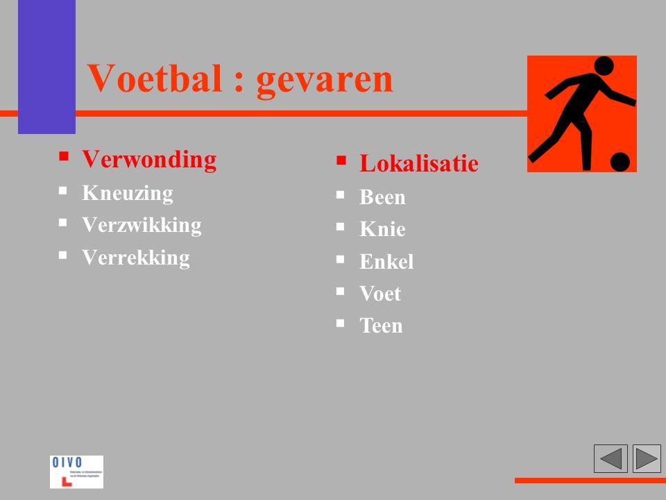 Voetbal : gevaren  Verwonding  Kneuzing  Verzwikking  Verrekking  Lokalisatie  Been  Knie  Enkel  Voet  Teen