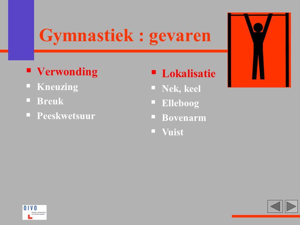Gymnastiek : gevaren  Verwonding  Kneuzing  Breuk  Peeskwetsuur  Lokalisatie  Nek, keel  Elleboog  Bovenarm  Vuist