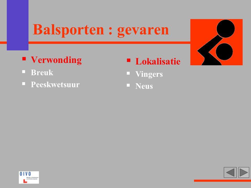 Balsporten : gevaren  Verwonding  Breuk  Peeskwetsuur  Lokalisatie  Vingers  Neus