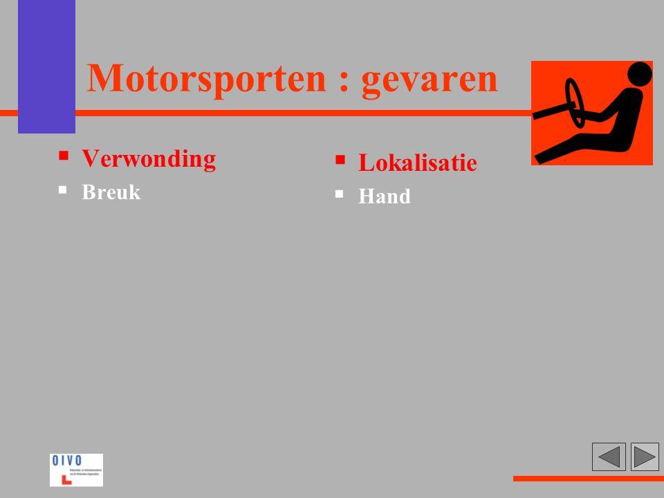 Motorsporten : gevaren  Verwonding  Breuk  Lokalisatie  Hand