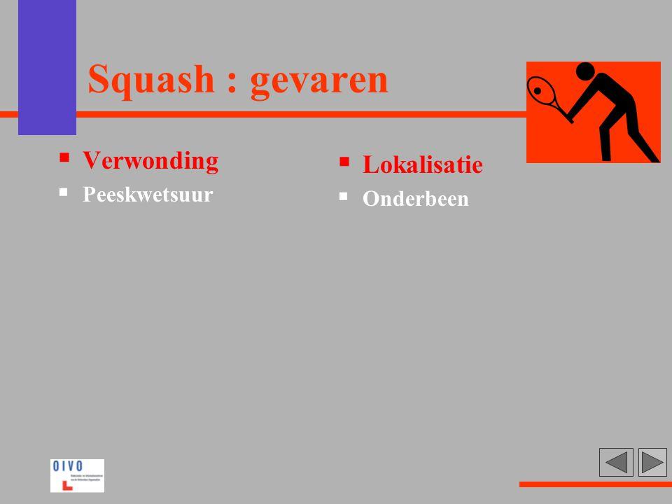 Squash : gevaren  Verwonding  Peeskwetsuur  Lokalisatie  Onderbeen