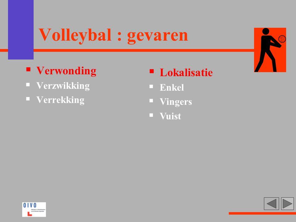 Volleybal : gevaren  Verwonding  Verzwikking  Verrekking  Lokalisatie  Enkel  Vingers  Vuist