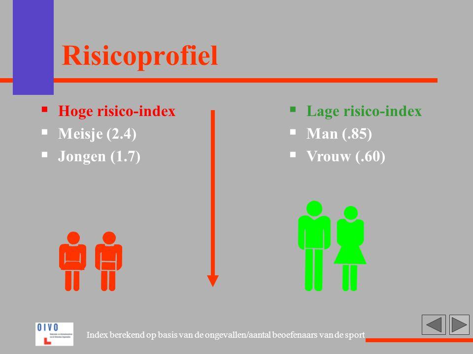 Risicoprofiel  Hoge risico-index  Meisje (2.4)  Jongen (1.7)  Lage risico-index  Man (.85)  Vrouw (.60) Index berekend op basis van de ongevalle