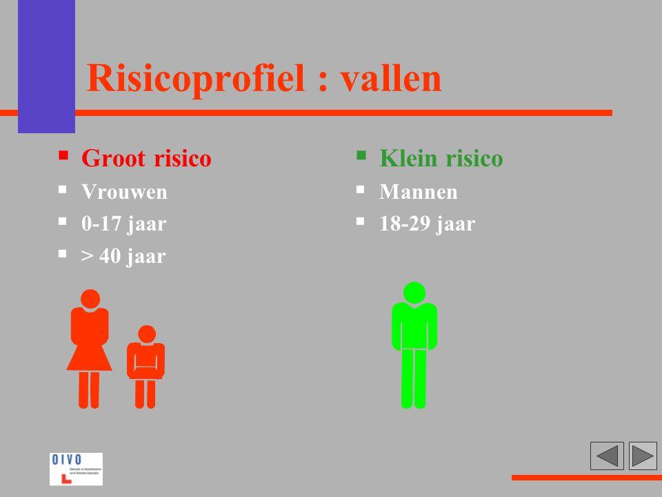 Risicoprofiel : vallen  Groot risico  Vrouwen  0-17 jaar  > 40 jaar  Klein risico  Mannen  18-29 jaar