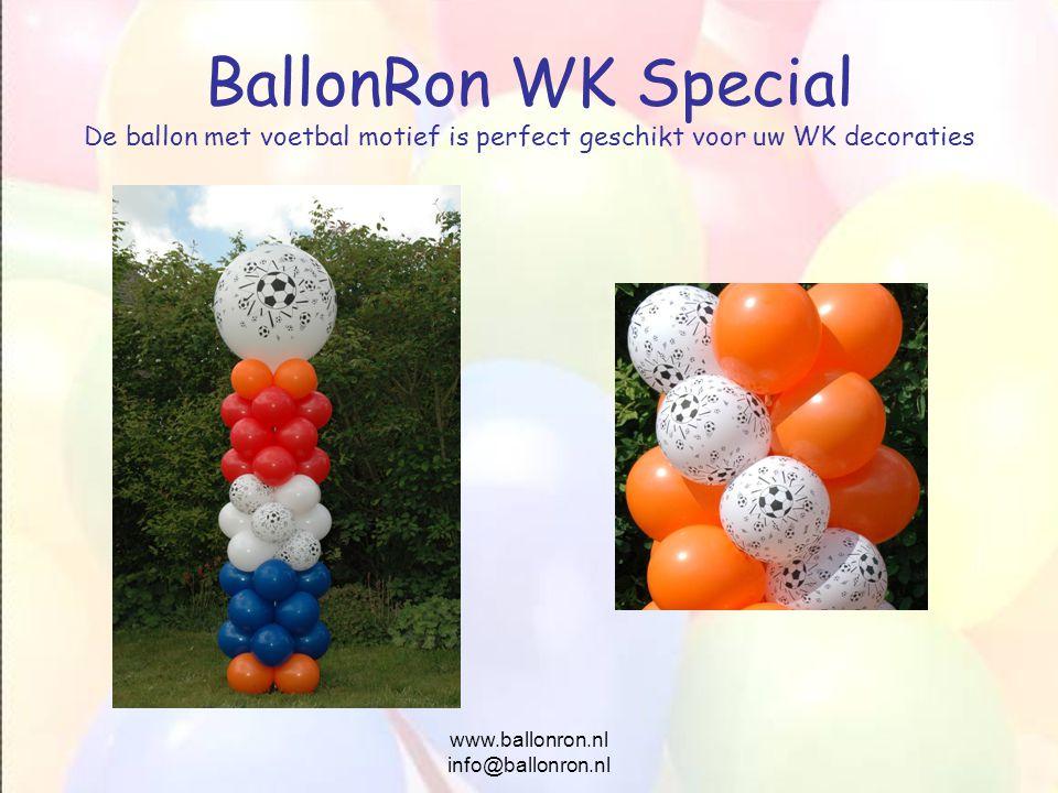 www.ballonron.nl info@ballonron.nl BallonRon WK Special De ballon met voetbal motief is perfect geschikt voor uw WK decoraties