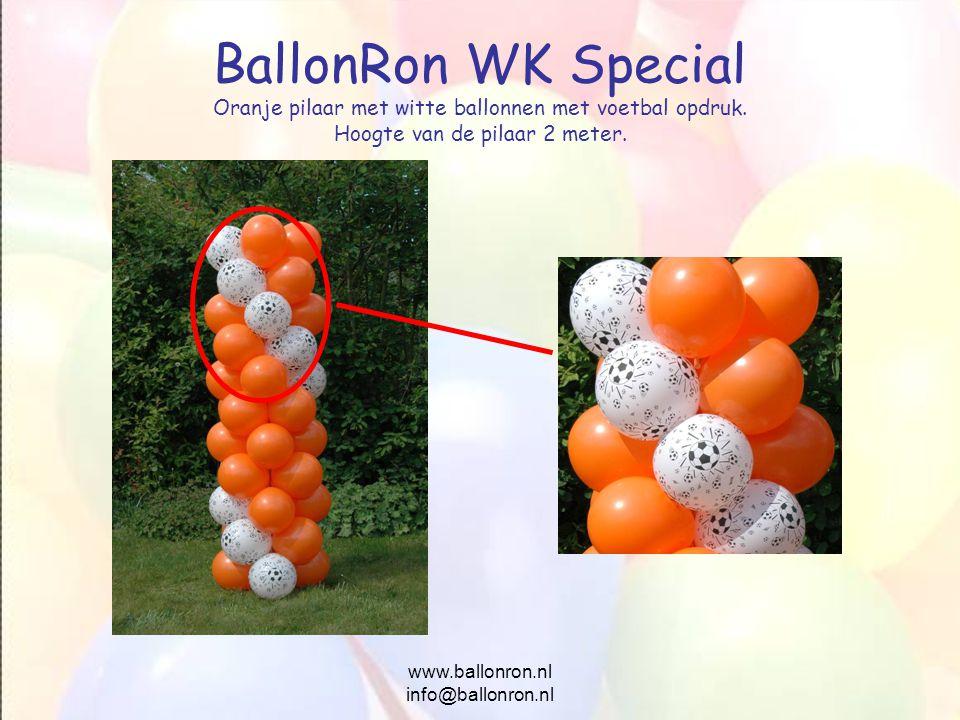 www.ballonron.nl info@ballonron.nl BallonRon WK Special Oranje pilaar met witte ballonnen met voetbal opdruk. Hoogte van de pilaar 2 meter.